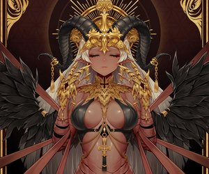 Rating: Safe Score: 101 Tags: breasts chain cropped cross dark_skin demon erect_nipples headdress horns long_hair original pointed_ears ribbons vana white_hair wings User: otaku_emmy