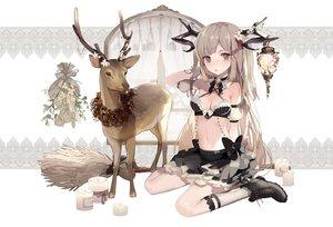 Rating: Safe Score: 90 Tags: animal boots bow breasts brown_hair flowers horns kneehighs long_hair navel original skirt yukisame User: BattlequeenYume