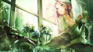 Rating: Safe Score: 39 Tags: animal bird book flowers green green_eyes long_hair minami_mofuko original owl pink_hair polychromatic reflection User: RyuZU