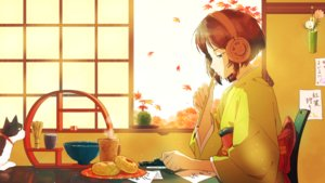 Rating: Safe Score: 10 Tags: animal autumn brown_hair cat flowers food green_eyes headphones japanese_clothes kimono leaves original paper short_hair twin-mix User: RyuZU