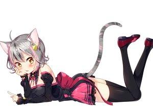 Rating: Safe Score: 102 Tags: animal_ears blush breasts catgirl gray_hair original sakuragi_ren short_hair tail thighhighs white yellow_eyes User: RyuZU