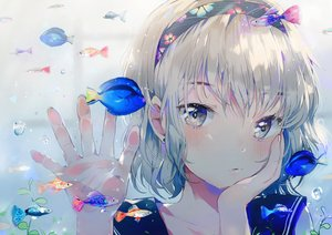 Rating: Safe Score: 127 Tags: animal blonde_hair blush bubbles dangmill fish headband original school_uniform short_hair User: Eleanor