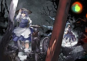 Rating: Safe Score: 53 Tags: 2girls cirno fairy hat letty_whiterock skull snow tomotsuka_haruomi touhou User: FormX