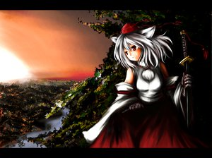 Rating: Safe Score: 20 Tags: animal_ears gray_hair hat inubashiri_momiji japanese_clothes landscape red_eyes scenic short_hair sky sword touhou water weapon wolfgirl User: Tensa