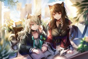 Rating: Safe Score: 45 Tags: 2girls animal_ears aqua_eyes arknights book brown_eyes brown_hair catgirl glasses gray_hair long_hair mint_(arknights) skyfire_(arknights) tail takano_jiyuu User: Nepcoheart
