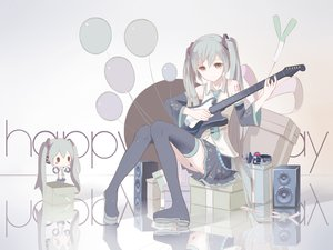 Rating: Safe Score: 147 Tags: aqua_hair chibi guitar hatsune_miku headphones instrument long_hair red_flowers tattoo thighhighs twintails vocaloid User: Wiresetc