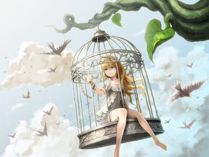 Rating: Safe Score: 136 Tags: animal barefoot bird blonde_hair blue_eyes cage chain clouds dress feathers leaves long_hair original pointed_ears shackles sky ume_(illegal_bible) wings User: Flandre93