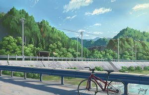 Rating: Safe Score: 72 Tags: bicycle clouds forest jing_(jiunn1985matw) landscape nobody original scenic signed sky stairs tree water User: otaku_emmy