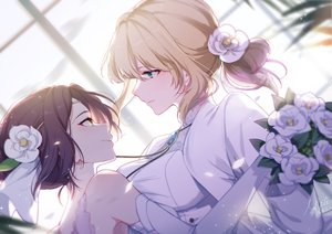 Rating: Safe Score: 82 Tags: 2girls amy_bartlett aqua_eyes blonde_hair brown_hair close elbow_gloves flowers gloves ponytail shoujo_ai slyvia suit violet_evergarden violet_evergarden_(character) wedding wedding_attire yellow_eyes User: sadodere-chan