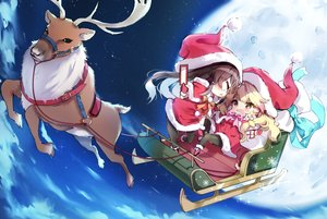 Rating: Safe Score: 19 Tags: 2girls animal blonde_hair blush bow braids brown_eyes brown_hair cape chibi christmas clouds dress gloves hakurei_reimu hat kirisame_marisa moon night ofuda pantyhose piyokichi santa_costume santa_hat sky stars touhou User: BattlequeenYume