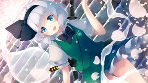 Rating: Safe Score: 43 Tags: aqua_eyes bow gengetsu_chihiro gray_hair headband katana konpaku_youmu myon petals short_hair skirt stairs sword touhou weapon User: otaku_emmy
