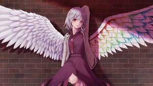 Rating: Safe Score: 133 Tags: braids dress dtvisu graffiti gray_hair kishin_sagume red_eyes short_hair touhou wings User: otaku_emmy