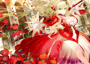 Rating: Safe Score: 69 Tags: 119 blonde_hair braids breasts cleavage dress fate/grand_order fate_(series) flowers green_eyes headband long_hair nero_claudius_(fate) rose sword weapon User: BattlequeenYume