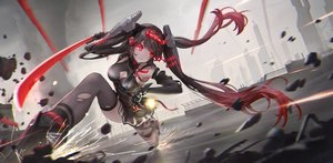 Rating: Safe Score: 45 Tags: black_hair jay_xu lucia_(punishing:_gray_raven) punishing:_gray_raven red_eyes sword techgirl thighhighs torn_clothes twintails weapon User: BattlequeenYume