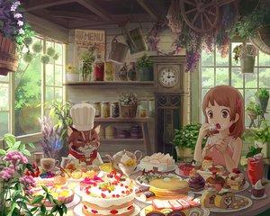 Rating: Safe Score: 103 Tags: animal brown_eyes brown_hair cake cat flowers food harupy original User: grudzioh