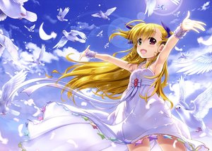 Rating: Safe Score: 54 Tags: animal bicolored_eyes bird blonde_hair blush clouds dress feathers fujima_takuya long_hair mahou_shoujo_lyrical_nanoha mahou_shoujo_lyrical_nanoha_vivid ponytail scan sky summer_dress takamachi_vivio wristwear User: RyuZU