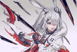 Rating: Safe Score: 49 Tags: animal_ears arknights blood bunny_ears csyday frostnova_(arknights) gloves gradient gray_eyes gray_hair hoodie long_hair watermark User: RyuZU