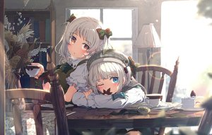 Rating: Safe Score: 111 Tags: 2girls aqua_eyes cake food fruit hat ogipote original red_eyes reflection school_uniform strawberry twintails white_hair wink User: Fepple
