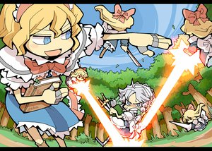 Rating: Safe Score: 12 Tags: alice_margatroid blonde_hair blue_eyes book doll dress forest gray_hair izayoi_sakuya knife long_hair mage maid ribbons shanghai_doll short_hair sky touhou tree weapon User: w7382001