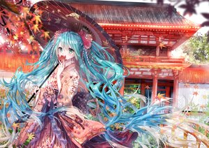 Rating: Safe Score: 67 Tags: aqua_hair autumn green_eyes hatsune_miku japanese_clothes kimono kity1211_tetsu leaves long_hair twintails umbrella vocaloid User: BattlequeenYume