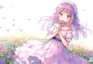 Rating: Safe Score: 77 Tags: aikatsu! dress flowers hikami_sumire hiten_goane_ryu long_hair petals purple_eyes purple_hair scan User: RyuZU