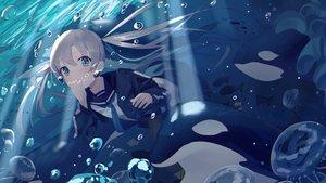 Rating: Safe Score: 64 Tags: blue_eyes bubbles gray_hair idemitsu long_hair original school_uniform skirt twintails underwater water User: BattlequeenYume