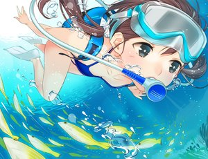 Rating: Safe Score: 36 Tags: ama_mitsuki animal bikini breasts brown_hair bubbles fish original swimsuit twintails underwater water User: RyuZU