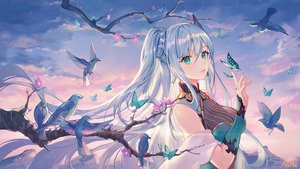 Rating: Safe Score: 107 Tags: animal atdan bird blue_hair breasts butterfly cangqiong cleavage clouds flowers green_eyes jpeg_artifacts long_hair ponytail signed sky twintails vocaloid User: Dreista