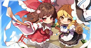 Rating: Safe Score: 29 Tags: 2girls blonde_hair braids brown_eyes brown_hair chibi hakurei_reimu japanese_clothes kirisame_marisa long_hair miko piyokichi red_eyes touhou witch User: BattlequeenYume