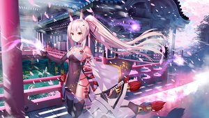 Rating: Safe Score: 84 Tags: aliasing anthropomorphism ayanami_(azur_lane) azur_lane blonde_hair building cherry_blossoms flowers japanese_clothes long_hair ponytail red_eyes tagme_(artist) thighhighs water User: BattlequeenYume