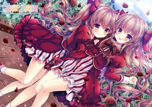 Rating: Safe Score: 15 Tags: 2girls blush bow brown_eyes brown_hair dress flowers logo long_hair mizuki_yuuma petals rose scan twintails User: RyuZU