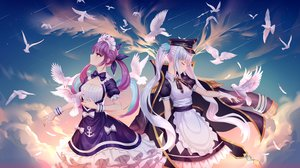 Rating: Safe Score: 74 Tags: 2girls aaeru animal apron bird bow braids cape clouds dress gloves hat headdress hololive kagura_mea kagura_mea_channel long_hair maid minato_aqua purple_eyes purple_hair sky stars twintails white_hair wristwear User: otaku_emmy