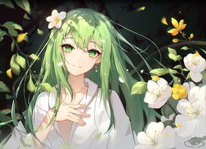 Rating: Safe Score: 74 Tags: all_male blush enkidu fate/grand_order fate_(series) flowers green_eyes green_hair long_hair male petals shirt xianyujun_sam User: Maboroshi
