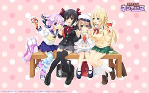 Rating: Safe Score: 99 Tags: black_hair blanc hyperdimension_neptunia long_hair neptune noire purple_hair school_uniform short_hair skirt thighhighs tsunako vert User: meccrain
