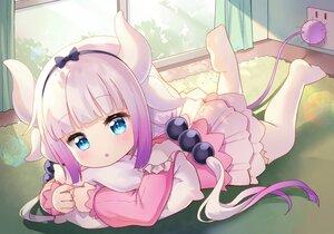 Rating: Safe Score: 47 Tags: aqua_eyes blush dress headband horns hug kanna_kamui kobayashi-san_chi_no_maid_dragon loli long_hair pink_hair tagme_(artist) thighhighs twintails User: BattlequeenYume