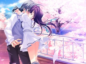 Rating: Safe Score: 55 Tags: blue_hair cherry_blossoms dress game_cg green_hair harukazedori_ni_tomarigi_wo_2nd_story kiss kneehighs long_hair petals purple_hair ribbons skirt sky tree water User: korokun