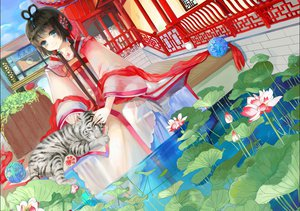 Rating: Safe Score: 88 Tags: animal black_hair blue_eyes chinese_clothes flowers jpeg_artifacts long_hair luo_tianyi object_spring tiger twintails vocaloid vocaloid_china water User: FormX
