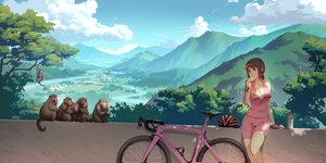 Rating: Safe Score: 29 Tags: animal bicycle bike_shorts brown_eyes brown_hair food original ponytail scenic shorts skintight sky tienao User: gnarf1975