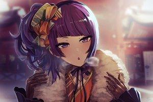 Rating: Safe Score: 47 Tags: blush bow close gloves idolmaster idolmaster_shiny_colors minyom ponytail purple_eyes purple_hair tanaka_mamimi winter User: BattlequeenYume