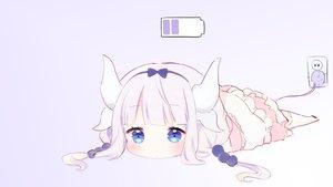 Rating: Safe Score: 222 Tags: aqua_eyes gradient horns kanna_kamui kobayashi-san_chi_no_maid_dragon loli long_hair ongyageum purple_hair tail thighhighs third-party_edit twintails User: SciFi