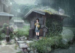 Rating: Safe Score: 75 Tags: black_hair building forest grass kneehighs original rain sakeharasu scenic seifuku short_hair skirt tree water wink User: otaku_emmy