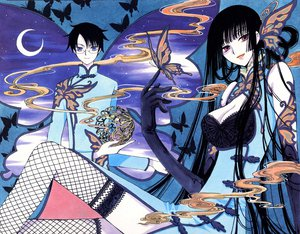 Rating: Safe Score: 26 Tags: black_hair breasts butterfly chinese_clothes chinese_dress clamp cleavage dress elbow_gloves glasses gloves ichihara_yuuko long_hair male moon night purple_eyes red_eyes short_hair sky thighhighs watanuki_kimihiro xxxholic User: Oyashiro-sama