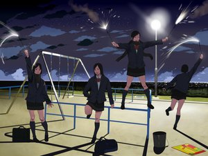 Rating: Safe Score: 37 Tags: city clouds fireworks night original park scarf scenic seifuku shiira sky stars User: STORM