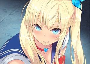 Rating: Safe Score: 48 Tags: aqua_eyes blonde_hair blush boku_wa_tomodachi_ga_sukunai cait choker close cosplay headband kashiwazaki_sena parody sailor_moon school_uniform tears twintails waifu2x User: gnarf1975