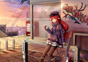 Rating: Safe Score: 69 Tags: arknights boots braids clouds drink graffiti guitar hat horns industrial instrument long_hair pantyhose phone pointed_ears red_eyes red_hair sechka skirt sky sunset vigna_(arknights) User: BattlequeenYume