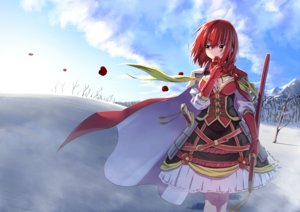 Rating: Safe Score: 37 Tags: anthropomorphism breasts brown_eyes cape clouds elbow_gloves flower_knight_girl flowers gloves mizunashi_(second_run) red_hair short_hair sky snow tsubaki_(flower_knight_girl) winter User: RyuZU