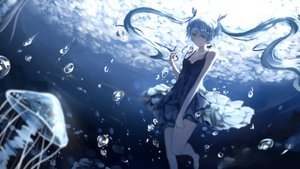 Rating: Safe Score: 225 Tags: animal barefoot barli blue_eyes blue_hair breasts bubbles cleavage deep-sea_girl_(vocaloid) dress fish hatsune_miku long_hair summer_dress twintails underwater vocaloid water User: luckyluna
