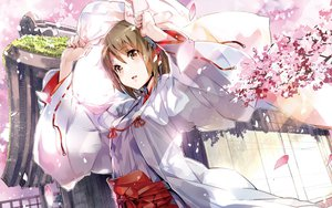 Rating: Safe Score: 252 Tags: amatsume_akira cherry_blossoms flowers japanese_clothes miko petals sphere yosuga_no_sora yuugen User: opai