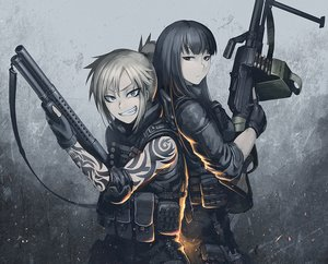 Rating: Safe Score: 289 Tags: armor black_hair blonde_hair blue_eyes gloves gun hellshock original ponytail suzumi_(hellshock) sword tattoo weapon User: TommyGunn