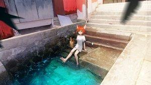 Rating: Safe Score: 72 Tags: animal_ears catgirl dress food green_eyes kareido_(kaleidoscope) orange_hair original short_hair stairs tail torn_clothes water User: RyuZU